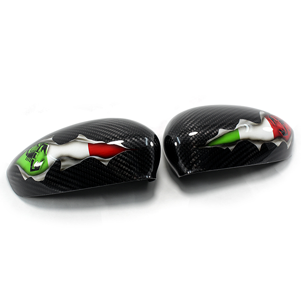 Carbon Fiber Mirror Caps Airbrushed Italian Flag Abarth